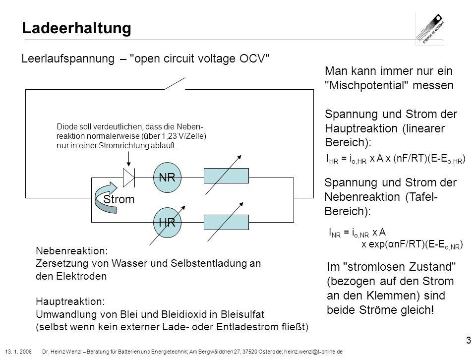 13. 1. 2008 Dr. Heinz Wenzl – Beratung für Batterien und Energietechnik; Am Bergwäldchen 27, 37520 Osterode; heinz.wenzl@t-online.de 3 Ladeerhaltung H