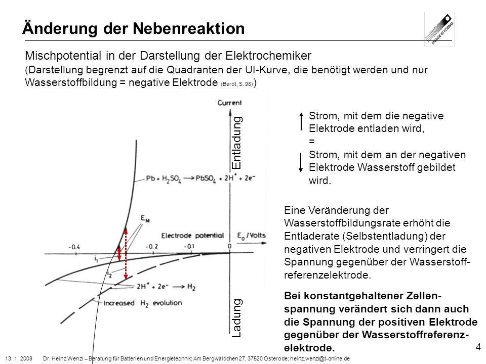 13. 1. 2008 Dr. Heinz Wenzl – Beratung für Batterien und Energietechnik; Am Bergwäldchen 27, 37520 Osterode; heinz.wenzl@t-online.de 4 Änderung der Ne