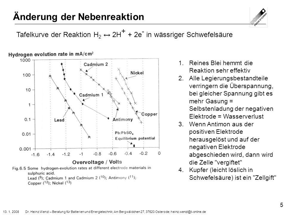 13. 1. 2008 Dr. Heinz Wenzl – Beratung für Batterien und Energietechnik; Am Bergwäldchen 27, 37520 Osterode; heinz.wenzl@t-online.de 5 Änderung der Ne