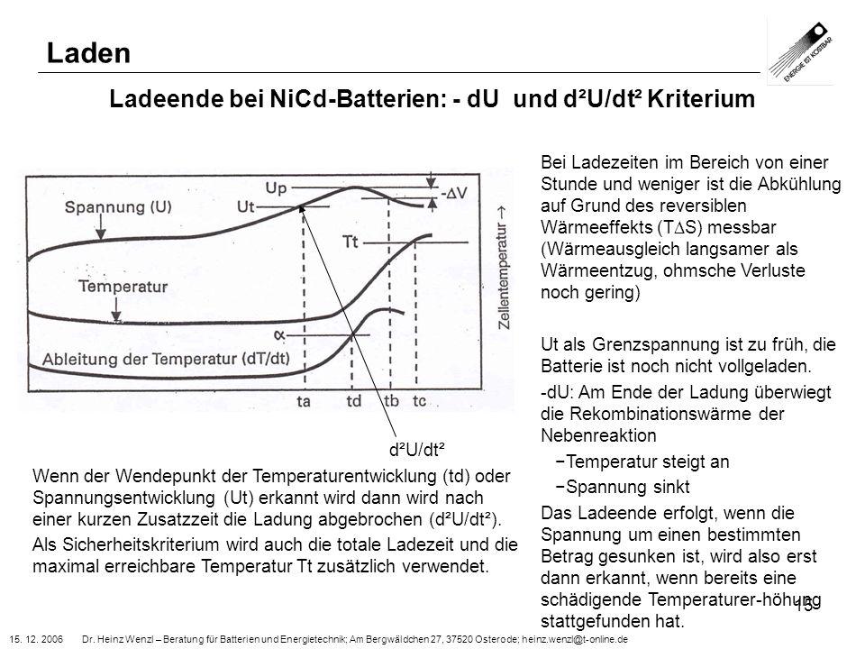 15. 12. 2006 Dr. Heinz Wenzl – Beratung für Batterien und Energietechnik; Am Bergwäldchen 27, 37520 Osterode; heinz.wenzl@t-online.de 15 Ladeende bei