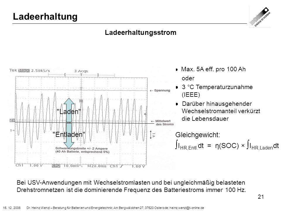 15. 12. 2006 Dr. Heinz Wenzl – Beratung für Batterien und Energietechnik; Am Bergwäldchen 27, 37520 Osterode; heinz.wenzl@t-online.de 21 Ladeerhaltung