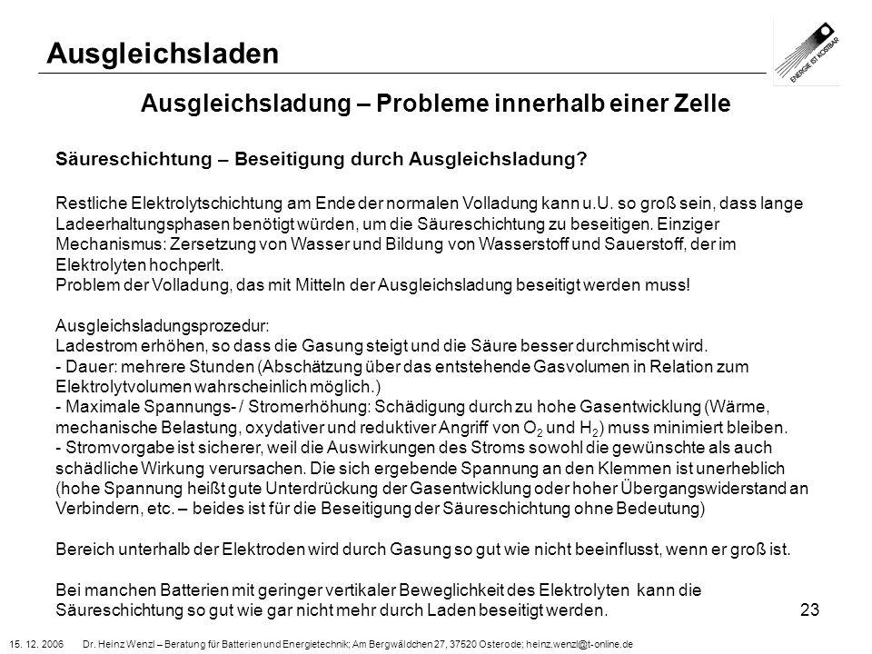 15. 12. 2006 Dr. Heinz Wenzl – Beratung für Batterien und Energietechnik; Am Bergwäldchen 27, 37520 Osterode; heinz.wenzl@t-online.de 23 Ausgleichslad
