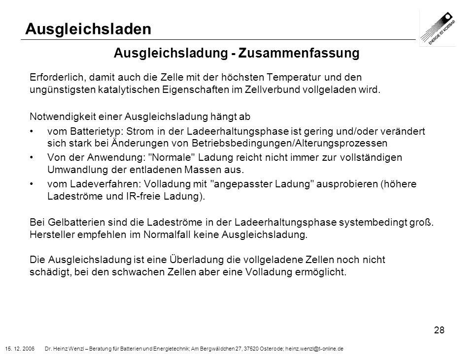 15. 12. 2006 Dr. Heinz Wenzl – Beratung für Batterien und Energietechnik; Am Bergwäldchen 27, 37520 Osterode; heinz.wenzl@t-online.de 28 Ausgleichslad