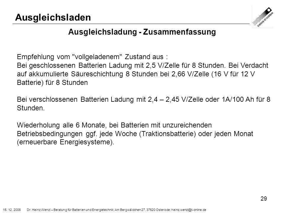 15. 12. 2006 Dr. Heinz Wenzl – Beratung für Batterien und Energietechnik; Am Bergwäldchen 27, 37520 Osterode; heinz.wenzl@t-online.de 29 Ausgleichslad