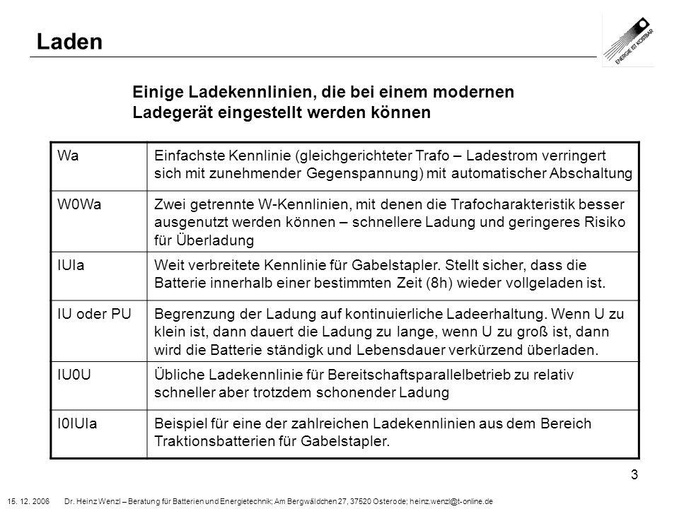 15. 12. 2006 Dr. Heinz Wenzl – Beratung für Batterien und Energietechnik; Am Bergwäldchen 27, 37520 Osterode; heinz.wenzl@t-online.de 3 Laden Einige L