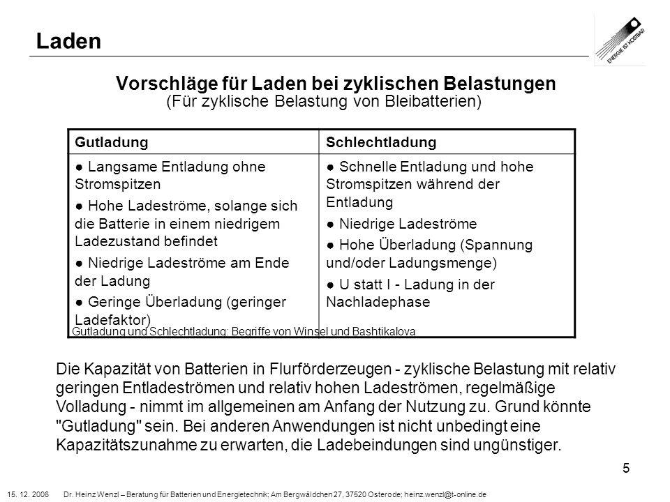 15. 12. 2006 Dr. Heinz Wenzl – Beratung für Batterien und Energietechnik; Am Bergwäldchen 27, 37520 Osterode; heinz.wenzl@t-online.de 5 Vorschläge für