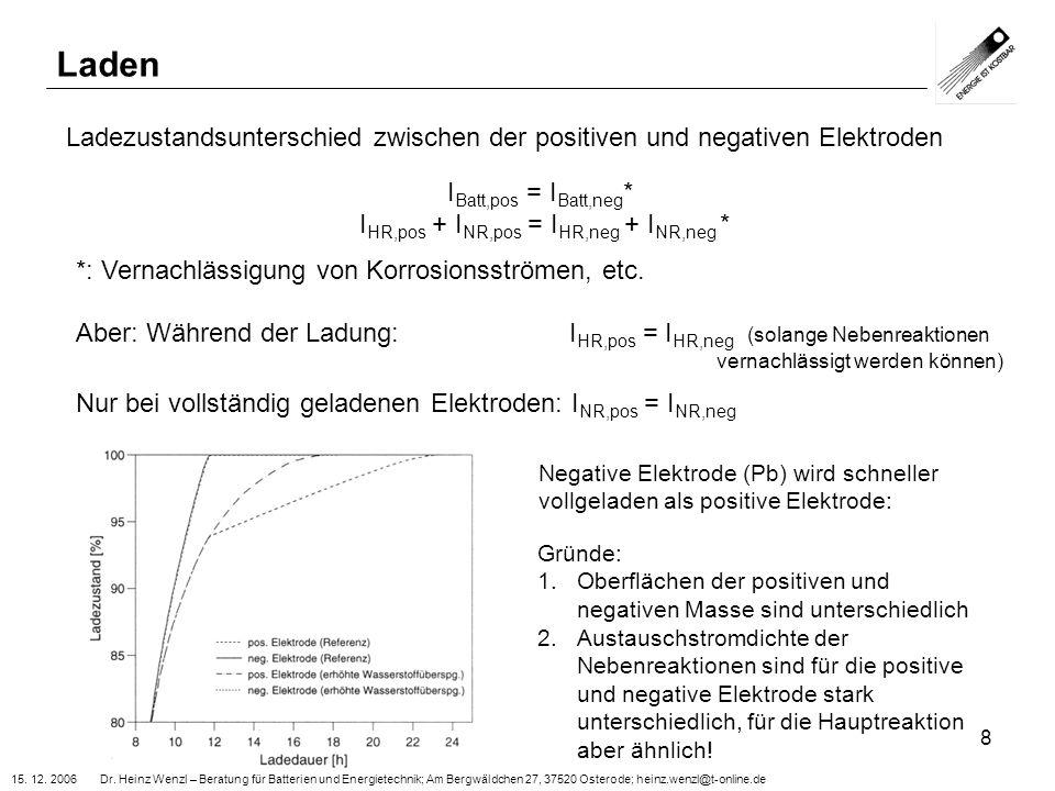 15. 12. 2006 Dr. Heinz Wenzl – Beratung für Batterien und Energietechnik; Am Bergwäldchen 27, 37520 Osterode; heinz.wenzl@t-online.de 8 Laden Ladezust