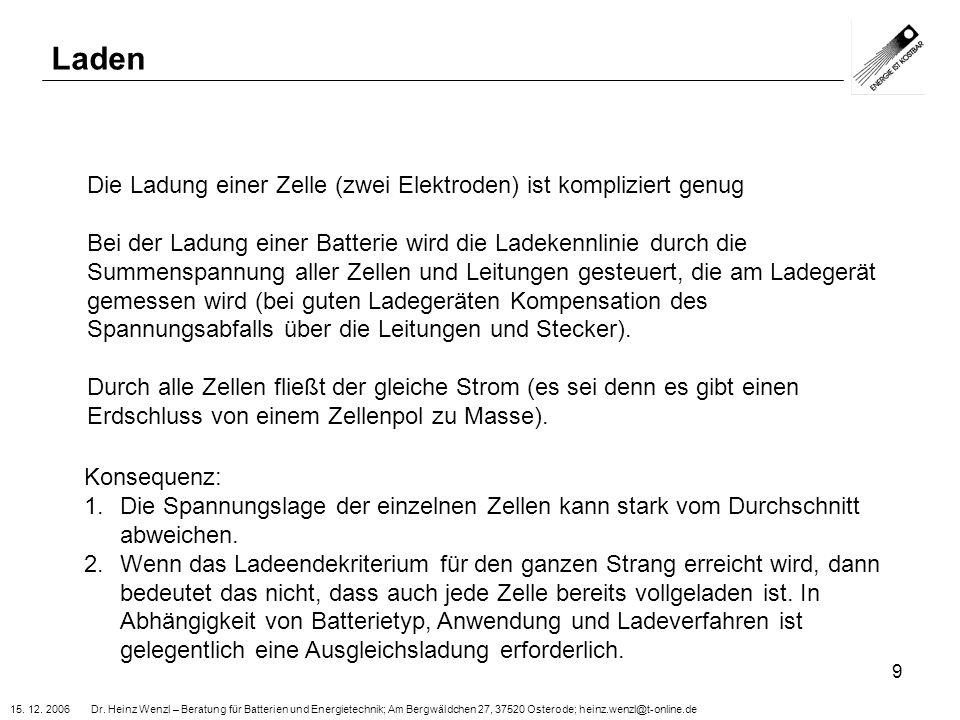 15. 12. 2006 Dr. Heinz Wenzl – Beratung für Batterien und Energietechnik; Am Bergwäldchen 27, 37520 Osterode; heinz.wenzl@t-online.de 9 Laden Die Ladu