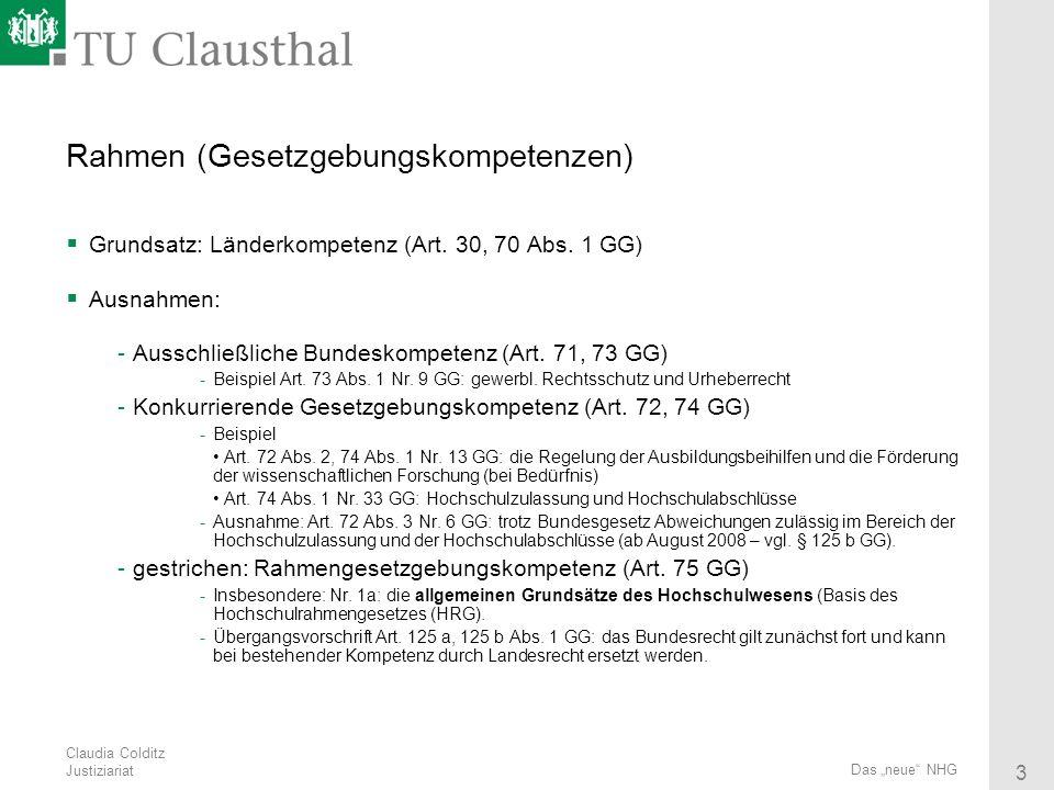 Claudia Colditz Justiziariat 3 Das neue NHG Rahmen (Gesetzgebungskompetenzen) Grundsatz: Länderkompetenz (Art. 30, 70 Abs. 1 GG) Ausnahmen: -Ausschlie