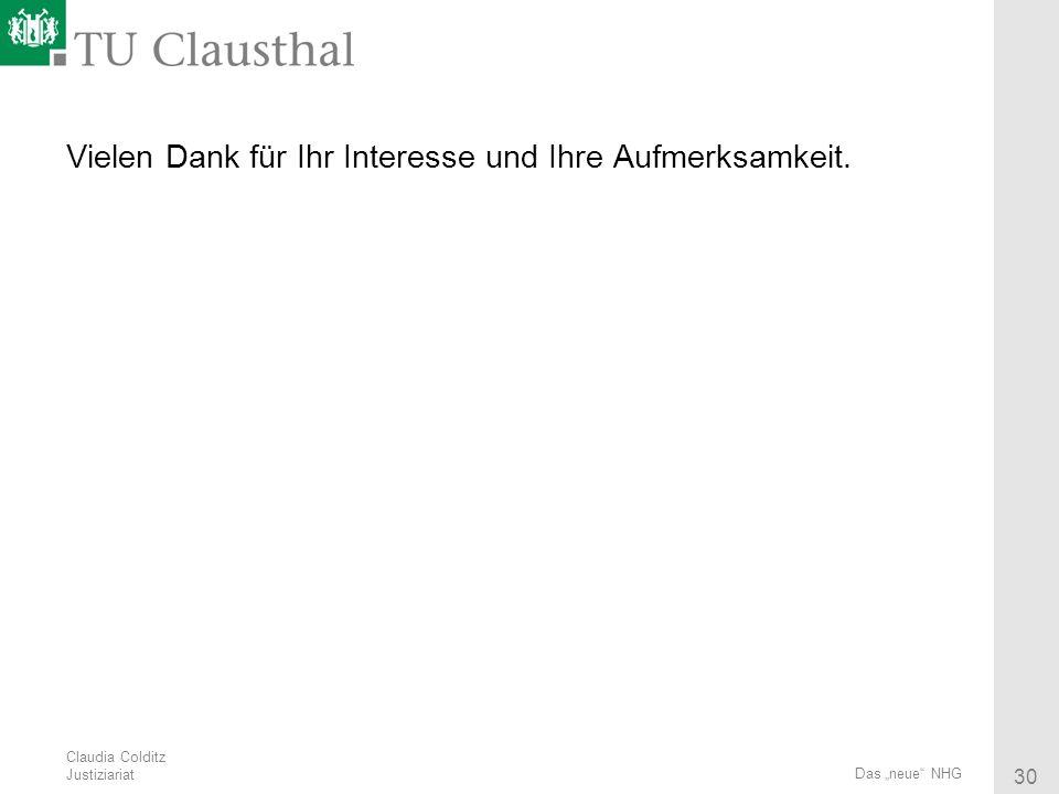 Claudia Colditz Justiziariat 30 Das neue NHG Vielen Dank für Ihr Interesse und Ihre Aufmerksamkeit.