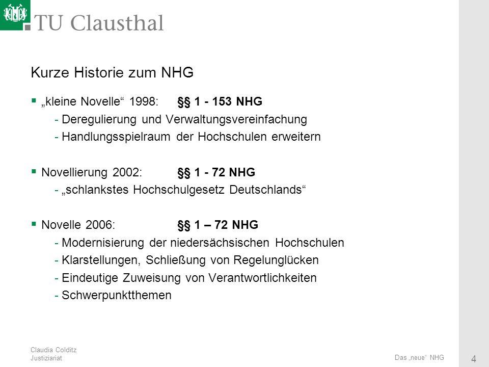 Claudia Colditz Justiziariat 4 Das neue NHG Kurze Historie zum NHG kleine Novelle 1998: §§ 1 - 153 NHG -Deregulierung und Verwaltungsvereinfachung -Ha