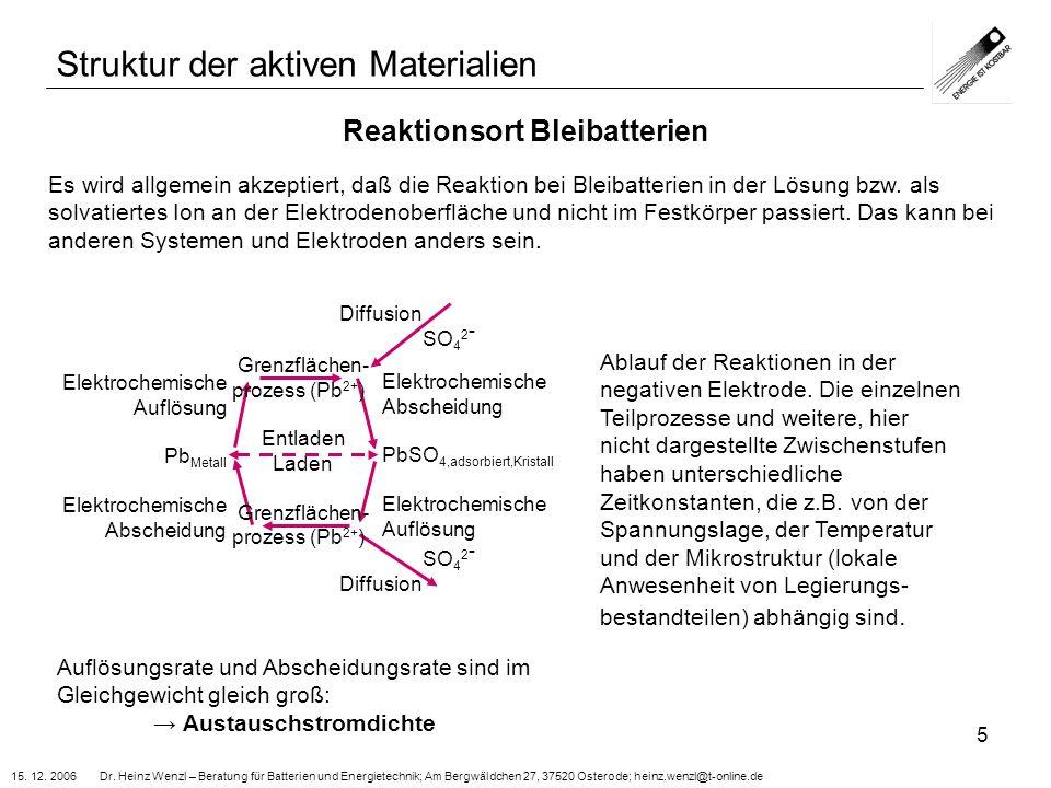 15. 12. 2006 Dr. Heinz Wenzl – Beratung für Batterien und Energietechnik; Am Bergwäldchen 27, 37520 Osterode; heinz.wenzl@t-online.de 5 Reaktionsort B