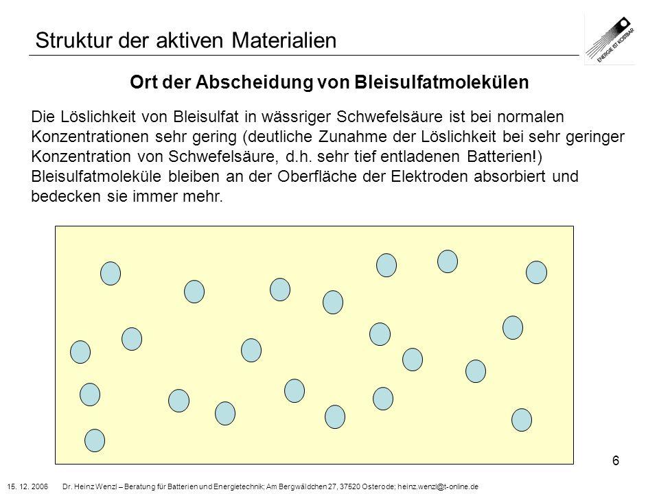 15. 12. 2006 Dr. Heinz Wenzl – Beratung für Batterien und Energietechnik; Am Bergwäldchen 27, 37520 Osterode; heinz.wenzl@t-online.de 6 Ort der Absche