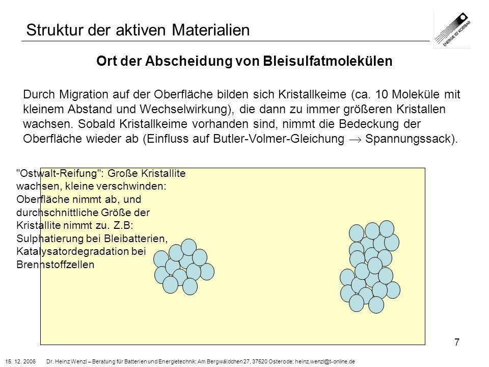 15. 12. 2006 Dr. Heinz Wenzl – Beratung für Batterien und Energietechnik; Am Bergwäldchen 27, 37520 Osterode; heinz.wenzl@t-online.de 7 Ort der Absche