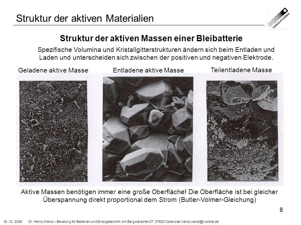 15. 12. 2006 Dr. Heinz Wenzl – Beratung für Batterien und Energietechnik; Am Bergwäldchen 27, 37520 Osterode; heinz.wenzl@t-online.de 8 Struktur der a