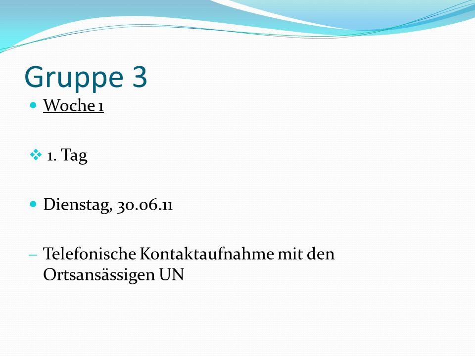Gruppe 3 Woche 1 1. Tag Dienstag, 30.06.11 Telefonische Kontaktaufnahme mit den Ortsansässigen UN