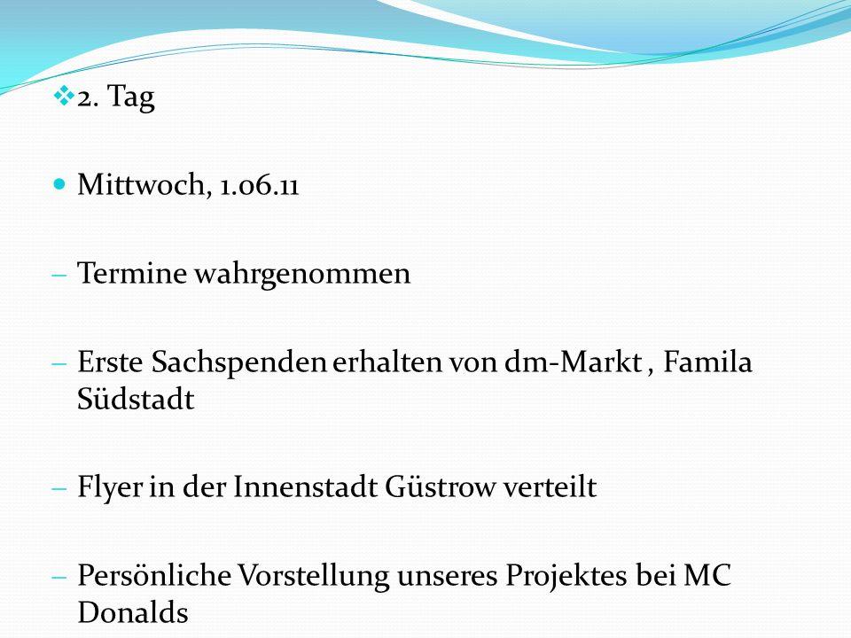 2. Tag Mittwoch, 1.06.11 Termine wahrgenommen Erste Sachspenden erhalten von dm-Markt, Famila Südstadt Flyer in der Innenstadt Güstrow verteilt Persön