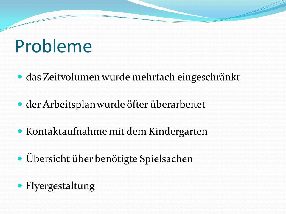 Probleme das Zeitvolumen wurde mehrfach eingeschränkt der Arbeitsplan wurde öfter überarbeitet Kontaktaufnahme mit dem Kindergarten Übersicht über ben