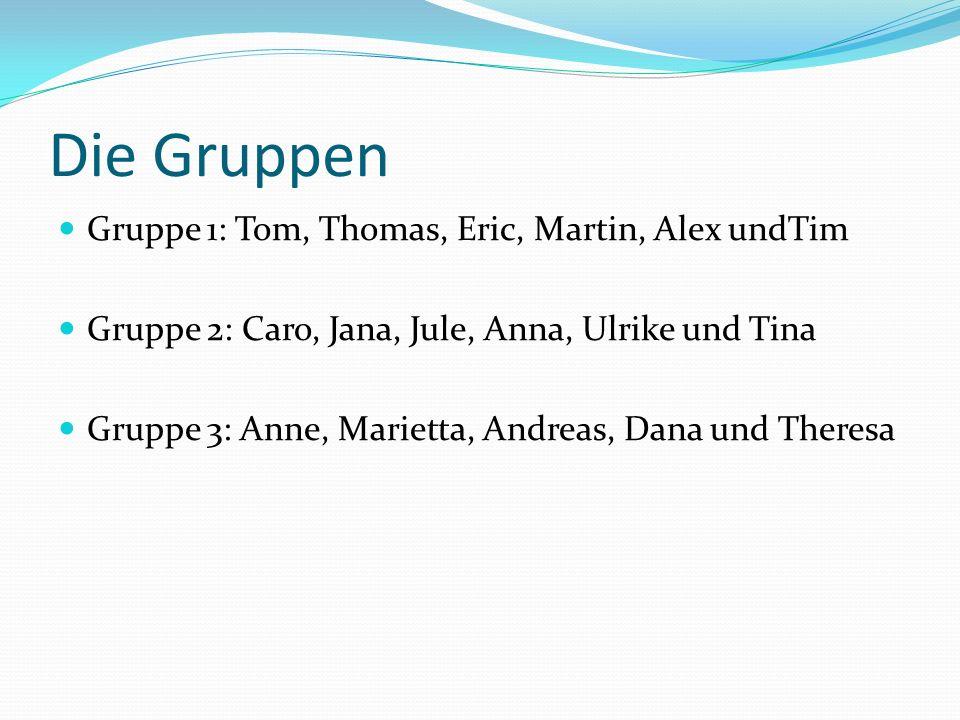 Die Gruppen Gruppe 1: Tom, Thomas, Eric, Martin, Alex undTim Gruppe 2: Caro, Jana, Jule, Anna, Ulrike und Tina Gruppe 3: Anne, Marietta, Andreas, Dana