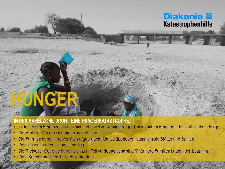 HUNGER IN DER SAHELZONE DROHT EINE HUNGERKATASTROPHE. In der letzten Regenzeit hat es nicht oder viel zu wenig geregnet, in manchen Regionen das dritt