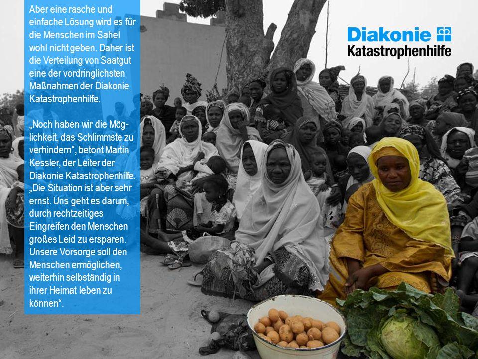 Aber eine rasche und einfache Lösung wird es für die Menschen im Sahel wohl nicht geben. Daher ist die Verteilung von Saatgut eine der vordringlichste
