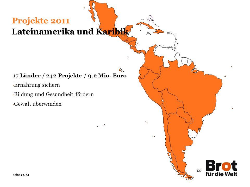 Seite 23/34 Projekte 2011 Lateinamerika und Karibik 17 Länder / 242 Projekte / 9,2 Mio. Euro Ernährung sichern Bildung und Gesundheit fördern Gewalt ü