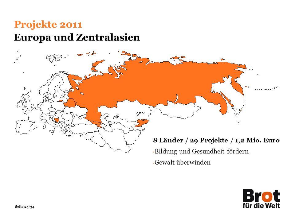 Seite 25/34 Projekte 2011 Europa und Zentralasien 8 Länder / 29 Projekte / 1,2 Mio. Euro Bildung und Gesundheit fördern Gewalt überwinden