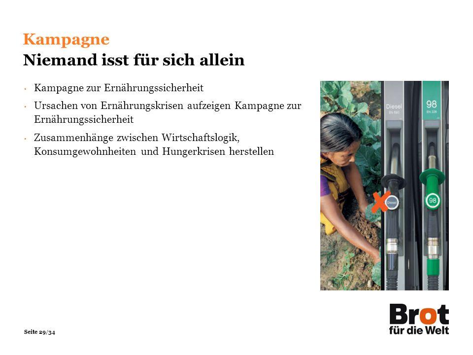 Seite 29/34 Kampagne Niemand isst für sich allein Kampagne zur Ernährungssicherheit Ursachen von Ernährungskrisen aufzeigen Kampagne zur Ernährungssic