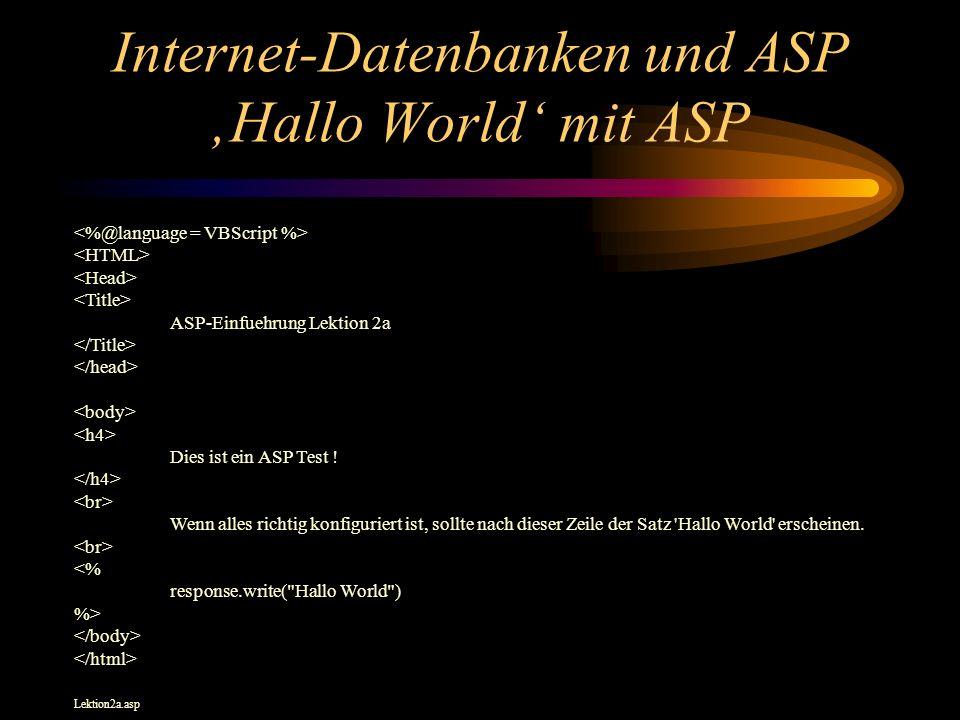 Internet-Datenbanken und ASP Hallo World mit ASP ASP-Einfuehrung Lektion 2a Dies ist ein ASP Test .