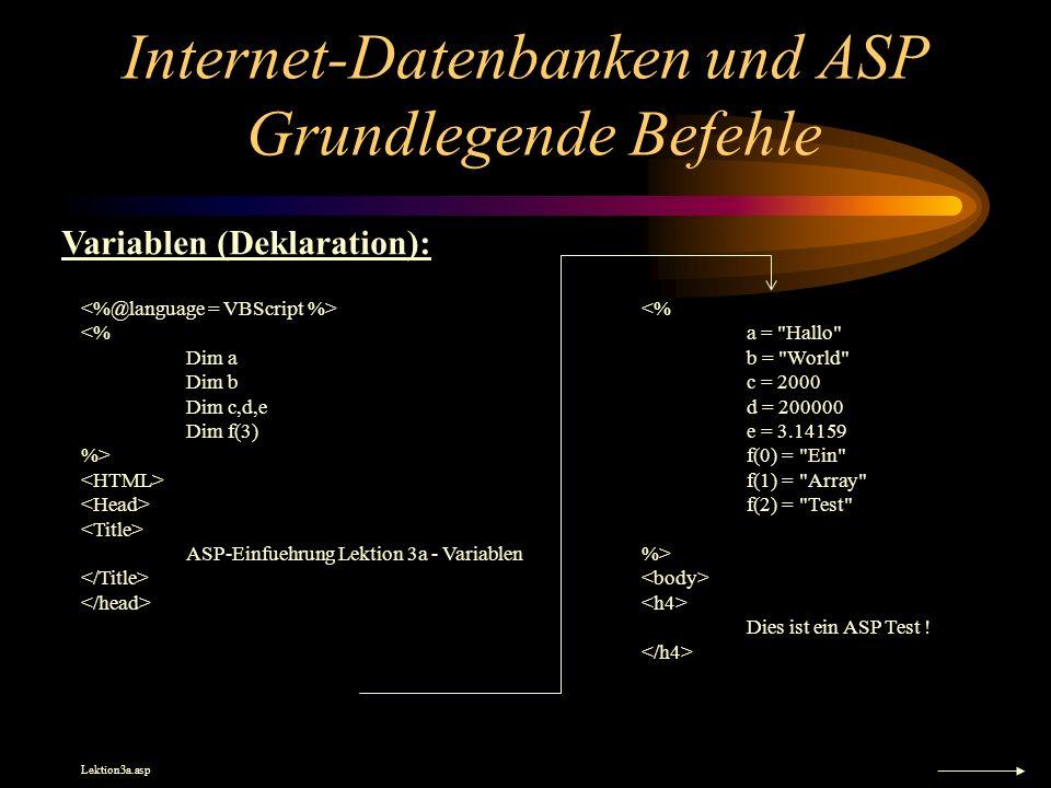 Internet-Datenbanken und ASP Grundlegende Befehle <% Dim a Dim b Dim c,d,e Dim f(3) %> ASP-Einfuehrung Lektion 3a - Variablen <% a = Hallo b = World c = 2000 d = 200000 e = 3.14159 f(0) = Ein f(1) = Array f(2) = Test %> Dies ist ein ASP Test .