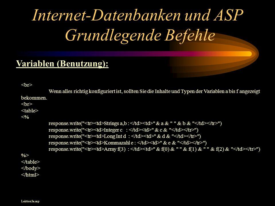 Internet-Datenbanken und ASP Grundlegende Befehle Wenn alles richtig konfiguriert ist, sollten Sie die Inhalte und Typen der Variablen a bis f angezeigt bekommen.