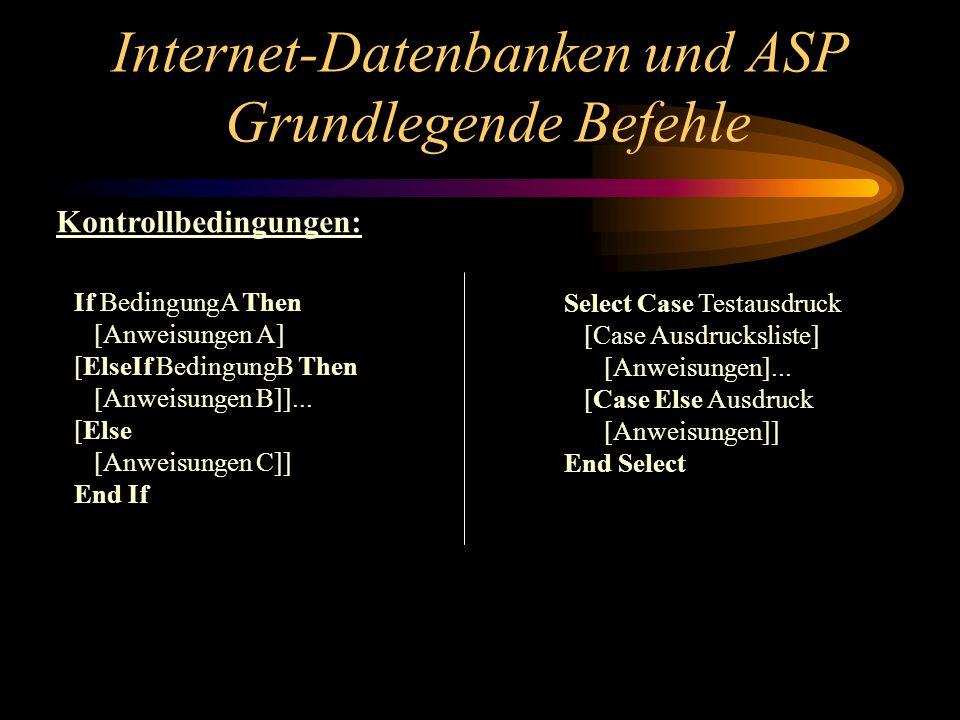 Internet-Datenbanken und ASP Grundlegende Befehle If BedingungA Then [Anweisungen A] [ElseIf BedingungB Then [Anweisungen B]]...