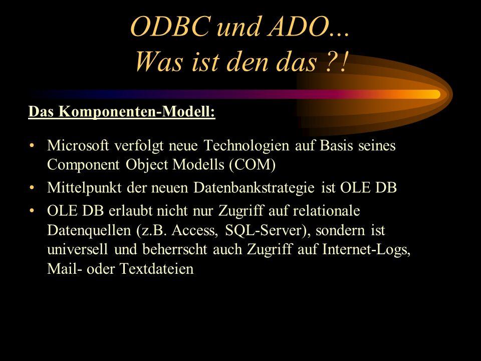 ODBC und ADO... Was ist den das ?! Microsoft verfolgt neue Technologien auf Basis seines Component Object Modells (COM) Mittelpunkt der neuen Datenban
