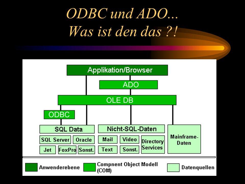ODBC und ADO... Was ist den das ?!