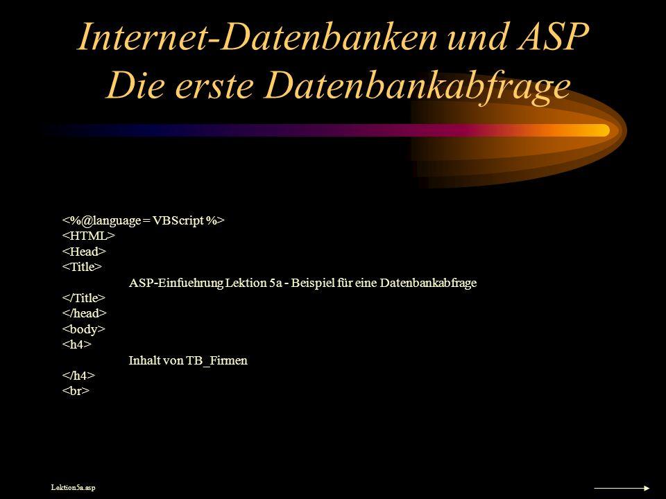 Internet-Datenbanken und ASP Die erste Datenbankabfrage ASP-Einfuehrung Lektion 5a - Beispiel für eine Datenbankabfrage Inhalt von TB_Firmen Lektion5a