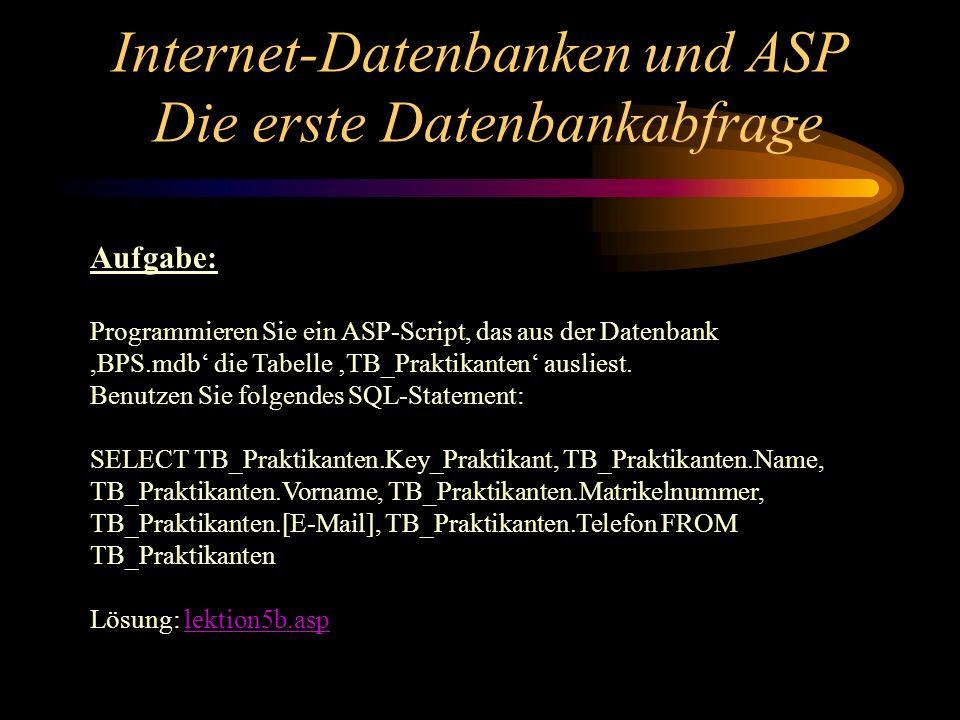 Internet-Datenbanken und ASP Die erste Datenbankabfrage Aufgabe: Programmieren Sie ein ASP-Script, das aus der Datenbank,BPS.mdb die Tabelle TB_Prakti