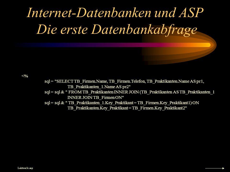 Internet-Datenbanken und ASP Die erste Datenbankabfrage <% sql =