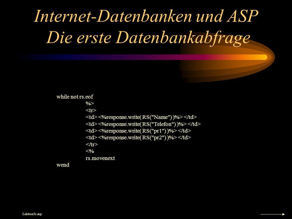 Internet-Datenbanken und ASP Die erste Datenbankabfrage while not rs.eof %> <% rs.movenext wend Lektion5c.asp