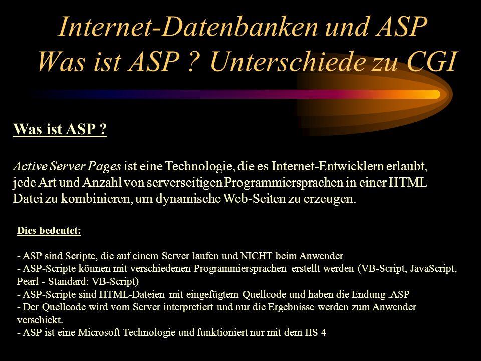 Internet-Datenbanken und ASP Was ist ASP . Unterschiede zu CGI Was ist ASP .