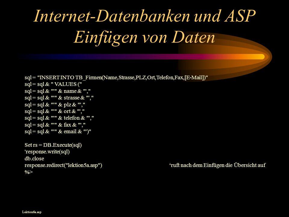 Internet-Datenbanken und ASP Einfügen von Daten sql = INSERT INTO TB_Firmen(Name,Strasse,PLZ,Ort,Telefon,Fax,[E-Mail]) sql = sql & VALUES ( sql = sql & & name & , sql = sql & & strasse & , sql = sql & & plz & , sql = sql & & ort & , sql = sql & & telefon & , sql = sql & & fax & , sql = sql & & email & ) Set rs = DB.Execute(sql) response.write(sql) db.close response.redirect( lektion5a.asp )ruft nach dem Einfügen die Übersicht auf %> Lektion6a.asp