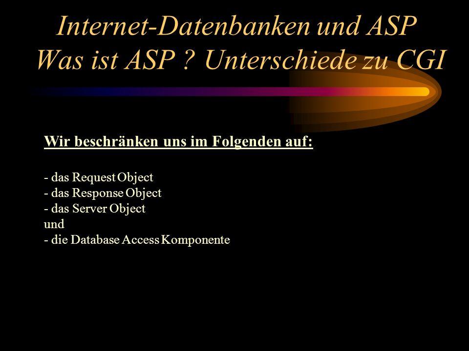 Wir beschränken uns im Folgenden auf: - das Request Object - das Response Object - das Server Object und - die Database Access Komponente Internet-Datenbanken und ASP Was ist ASP .