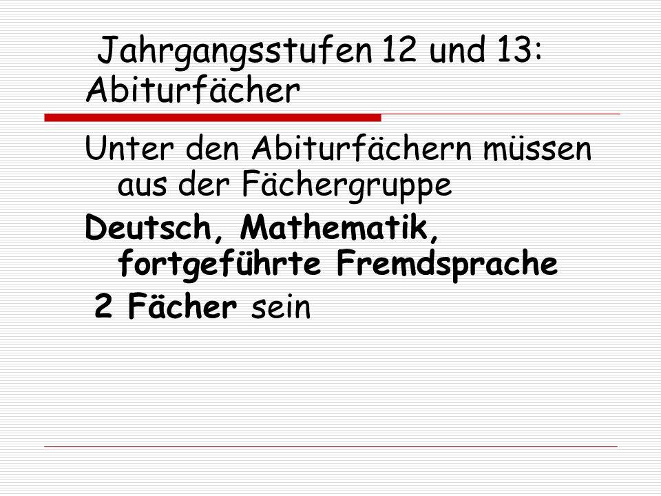 Jahrgangsstufen 12 und 13: Abiturfächer Unter den Abiturfächern müssen aus der Fächergruppe Deutsch, Mathematik, fortgeführte Fremdsprache 2 Fächer se