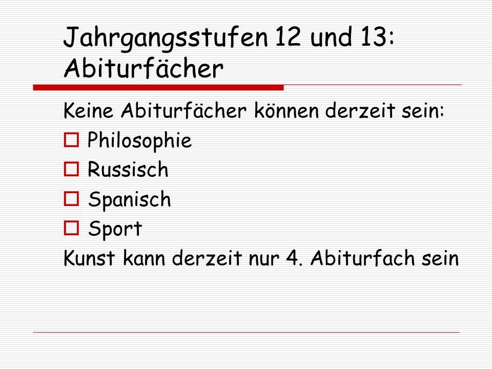 Jahrgangsstufen 12 und 13: Abiturfächer Keine Abiturfächer können derzeit sein: Philosophie Russisch Spanisch Sport Kunst kann derzeit nur 4. Abiturfa