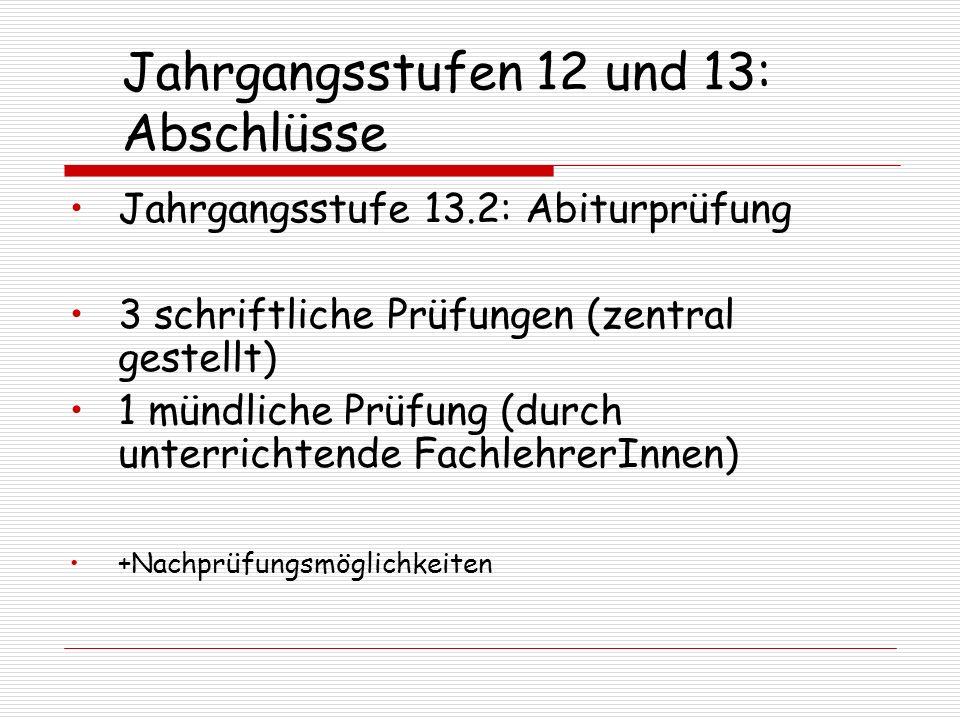 Jahrgangsstufen 12 und 13: Abschlüsse Jahrgangsstufe 13.2: Abiturprüfung 3 schriftliche Prüfungen (zentral gestellt) 1 mündliche Prüfung (durch unterr