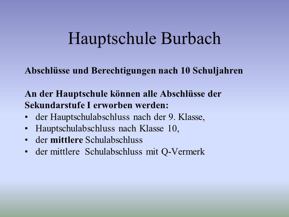 Hauptschule Burbach Abschlüsse und Berechtigungen nach 10 Schuljahren An der Hauptschule können alle Abschlüsse der Sekundarstufe I erworben werden: d