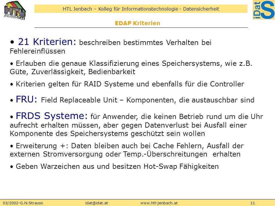 HTL Jenbach – Kolleg für Informationstechnologie - Datensicherheit 03/2002-G.N.Straussidat@idat.atwww.htl-jenbach.at11 EDAP Kriterien 21 Kriterien: be