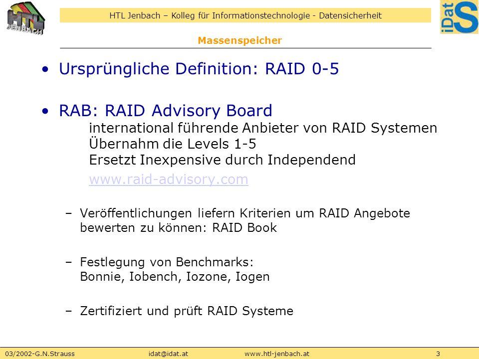 HTL Jenbach – Kolleg für Informationstechnologie - Datensicherheit 03/2002-G.N.Straussidat@idat.atwww.htl-jenbach.at4 Massenspeicher MTBF: Mean Time Between Failure Angabe über die Lebensdauer und Fehleranfälligkeit Allerdings: Verbund aus n HDs weist eine n mal kleinere MTBF als die einer einzelnen HD auf -> Einsatz von Redundanzverfahren, sodass bei Ausfall einer HD keine Daten verloren gehen -> während Host Daten liest und speichert erfolgt die Rekonstruktion der Daten im Hintergrund Allerdings: fällt in dieser Phase eine weitere Platte des Sets aus, sind die Daten meist verloren -> Rekonstruktionsphase = verwundbarer Zustand -> erst Ersatz der defekten Platte und Einbindung in den laufenden Betrieb erzeugt wieder ein stabiles System Abhilfe: RAID Level 6 Verkraftet den Ausfall von 2 Platten in einem 6er Verbund
