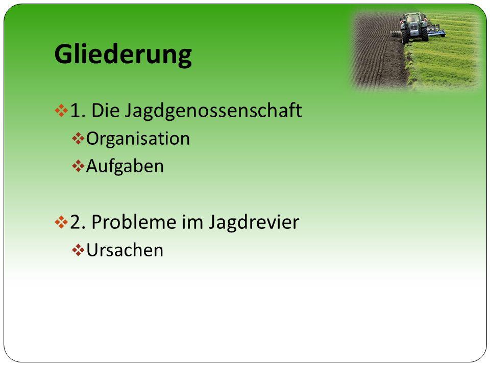 Gliederung 1. Die Jagdgenossenschaft Organisation Aufgaben 2. Probleme im Jagdrevier Ursachen