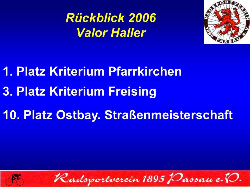 Rückblick 2006 Valor Haller 1. Platz Kriterium Pfarrkirchen 3. Platz Kriterium Freising 10. Platz Ostbay. Straßenmeisterschaft