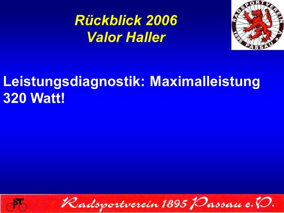 Rückblick 2006 Valor Haller Leistungsdiagnostik: Maximalleistung 320 Watt!